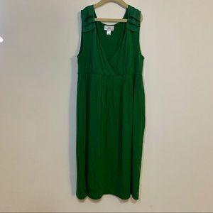 LOFT Green Midi Dress